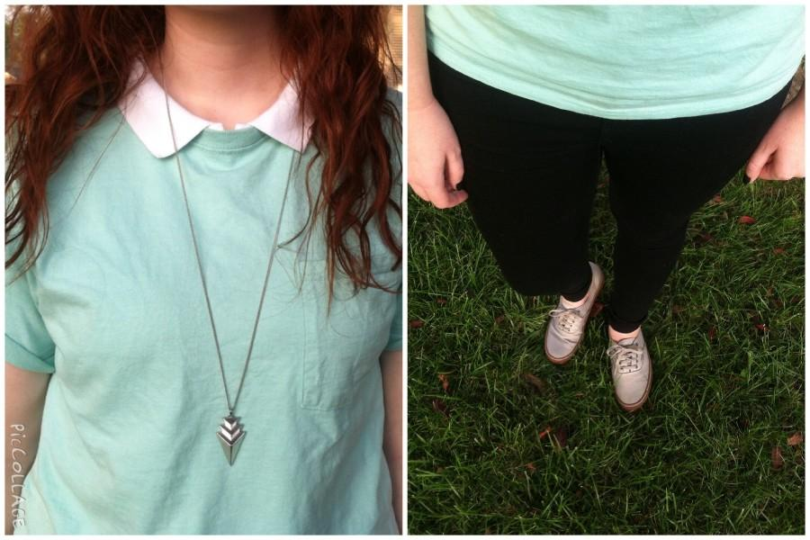 If you like more color in your outfits, try throwing on a pocket tee over your polo. You can also dress it up with a simple necklace and some canvas Vans.
