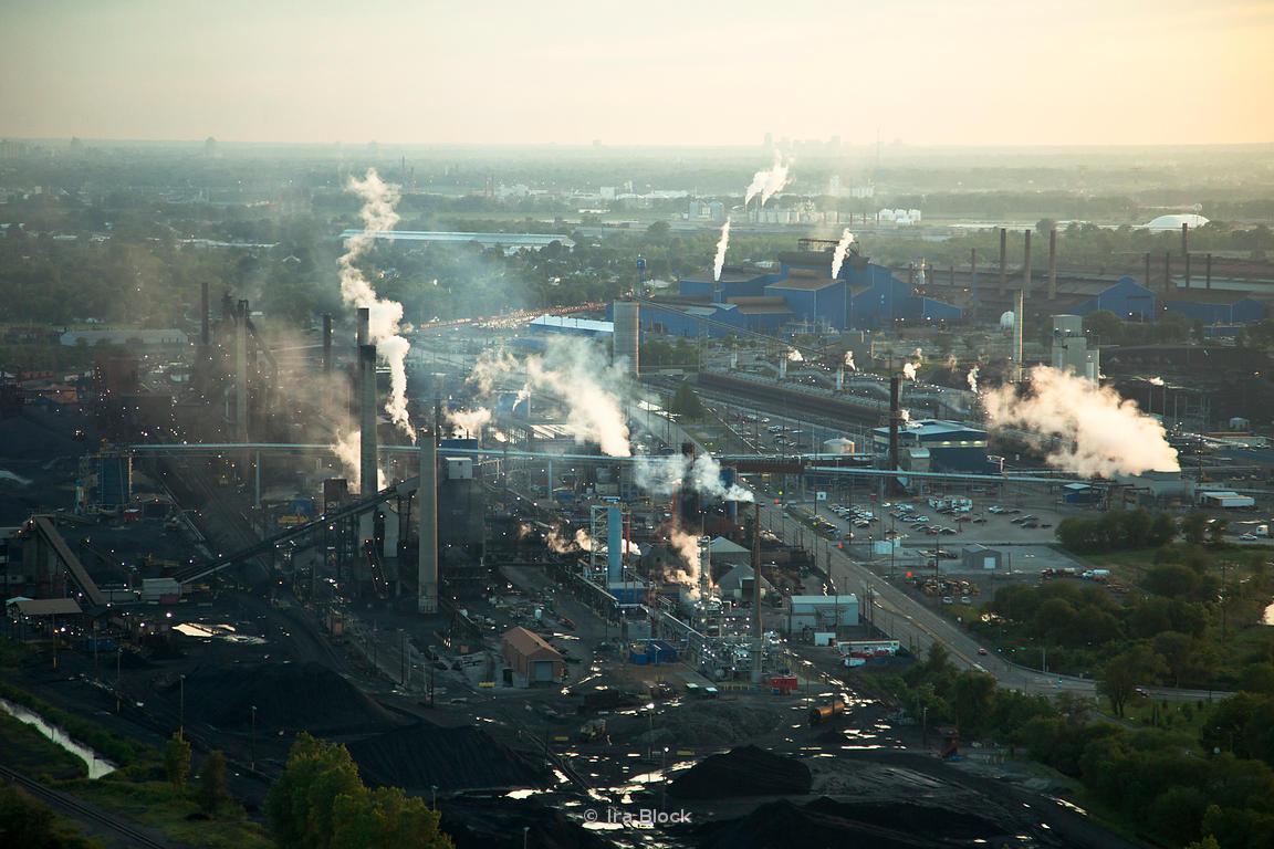 An aerial view of Granite City Steel Works in Granite City, Illinois.